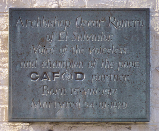 Plaque for Archbishop Romero